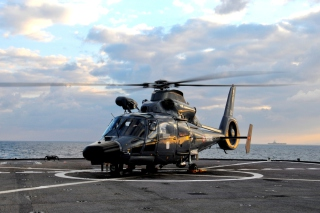 Helicopter on Aircraft Carrier Picture for Android, iPhone and iPad