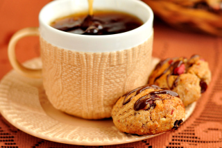 Dessert cookies with coffee Background for Android, iPhone and iPad