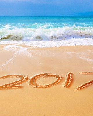 Happy New Year 2017 Phrase on Beach Background for 240x320