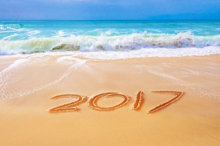 Happy New Year 2017 Phrase on Beach Wallpaper for Android, iPhone and iPad