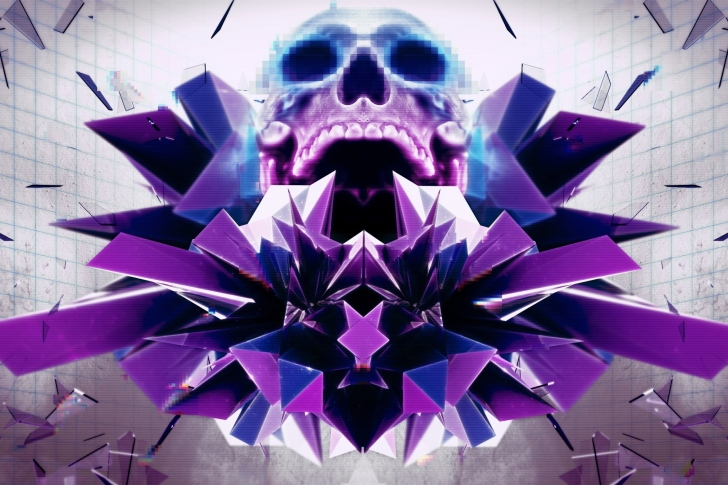 Abstract framed Skull wallpaper