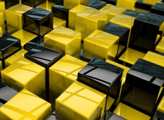 Free Yellow - Black Cubes Picture for Android, iPhone and iPad