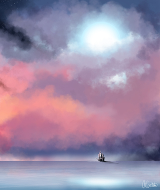 Lonely Ship In Big Blue Sea Painting - Obrázkek zdarma pro 240x320