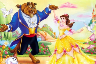 Beauty and the Beast Disney Cartoon Background for Android, iPhone and iPad