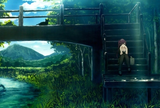 Free Girl Sitting On Bridge Stairs Picture for LG Optimus U