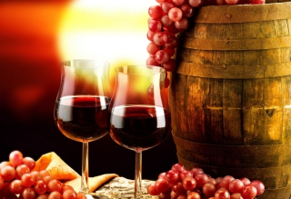 Red Wine And Grapes Background for Android, iPhone and iPad