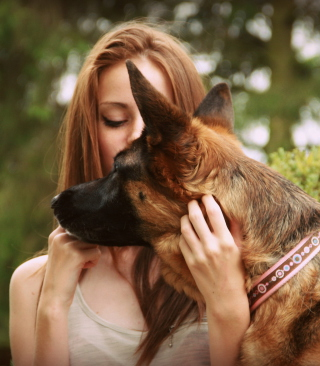 Girl And German Shepherd Wallpaper for HTC Titan