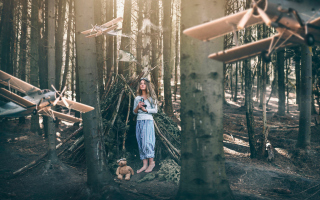 Girl And Teddy Bear In Forest By Rosie Hardy Wallpaper for Android, iPhone and iPad