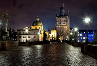 Free Prague Charles Bridge At Night Picture for Android, iPhone and iPad