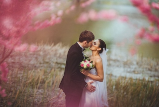 Bride And Groom First Kiss Wallpaper for Android, iPhone and iPad