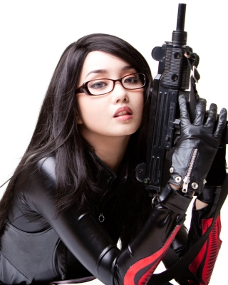 Military Cosplay Asian Girl Wallpaper for Nokia Asha 305