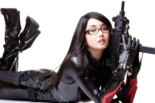 Free Military Cosplay Asian Girl Picture for Android, iPhone and iPad