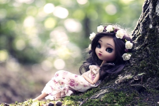 Beautiful Brunette Doll In Flower Wreath - Obrázkek zdarma
