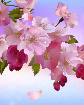 Painting apple tree in bloom sfondi gratuiti per 640x960