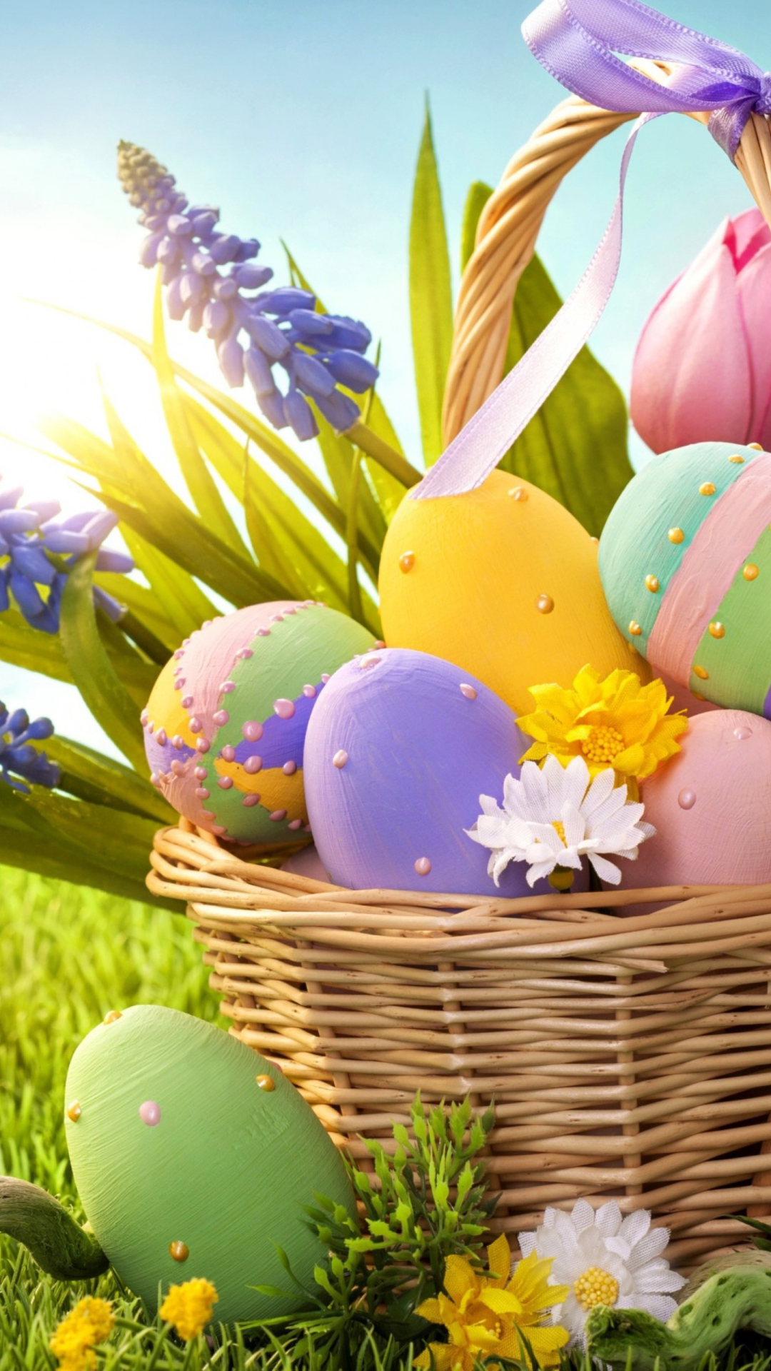 Basket With Easter Eggs wallpaper 1080x1920