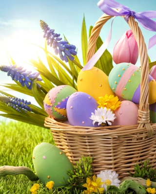 Basket With Easter Eggs Background for 240x320