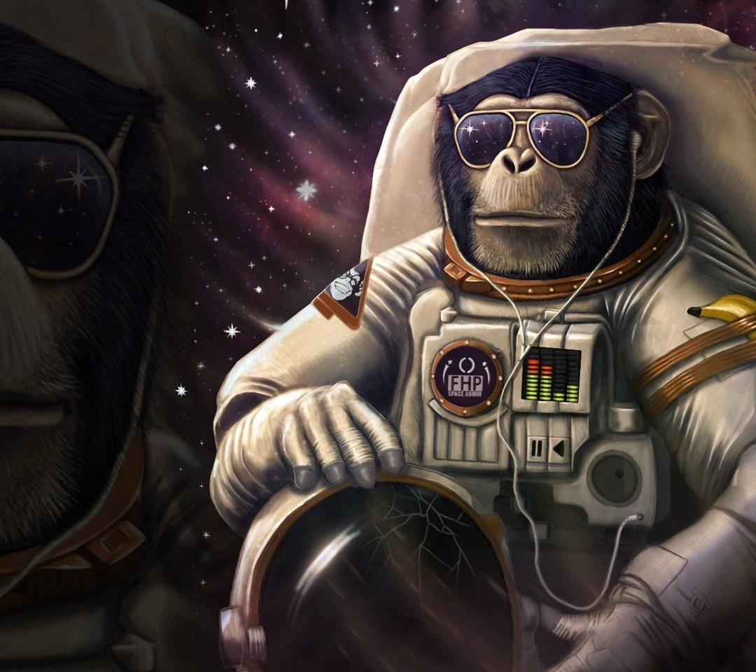 Monkeys and apes in space wallpaper 1080x960