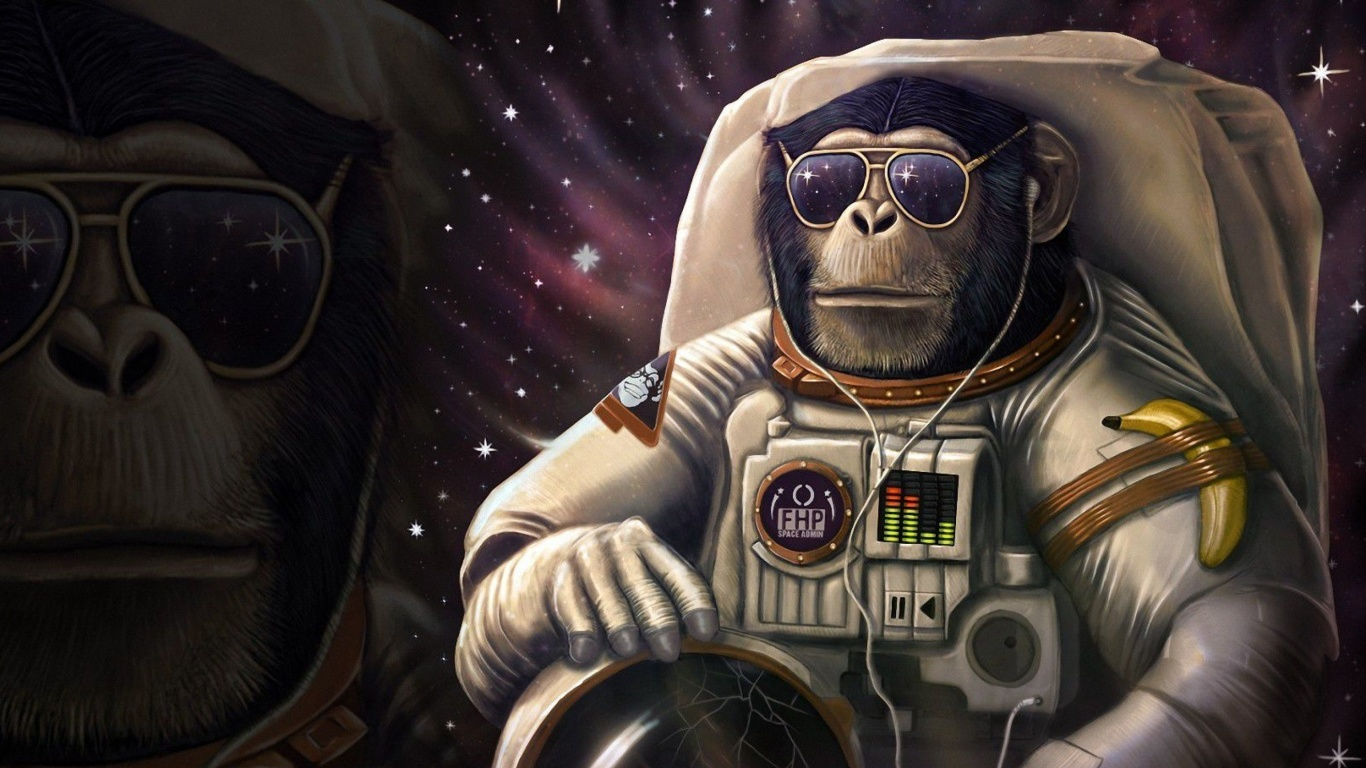 Screenshot №1 pro téma Monkeys and apes in space 1366x768