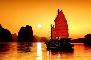 Kostenloses Halong Bay, Vietnama in Sunset Wallpaper für 1080x960