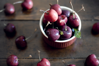 Cherry Plate Background for Android, iPhone and iPad