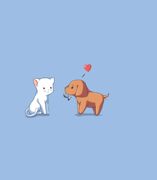 Dog And Cat On Blue Background - Obrázkek zdarma pro 640x1136