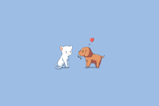 Dog And Cat On Blue Background - Obrázkek zdarma pro 480x360