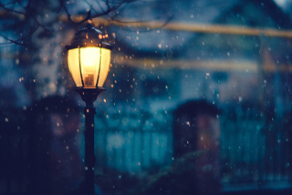 Winter Street Lantern Background for Android, iPhone and iPad