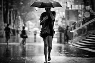 Girl Under Umbrella In Rain Background for Android, iPhone and iPad