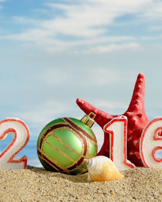 New Year 2016 Beach Theme Picture for Nokia Asha 306