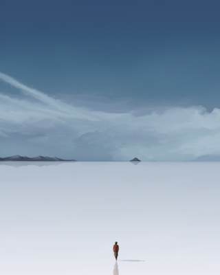 3D Graphics Alone On Salt Lake Wallpaper for iPhone 4S