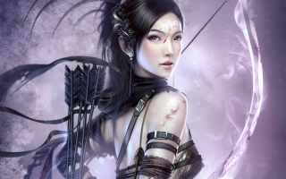 Fantasy Archer Girl Background for Desktop 1280x720 HDTV