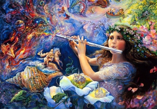 Josephine Wall Paintings - Enchanted Flute sfondi gratuiti per HTC Raider 4G