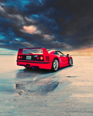 Red Ferrari F40 Rear Angle Background for HTC Titan