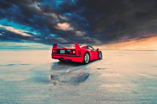 Red Ferrari F40 Rear Angle Wallpaper for Android, iPhone and iPad