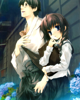 Anime Girl and Guy with kitten - Obrázkek zdarma pro Nokia Asha 308