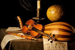 Still life with violin and flute Background for 960x800