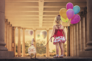 Little Girl With Colorful Balloons - Obrázkek zdarma pro 480x360