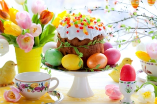 Kostenloses Easter Cake And Eggs Wallpaper für Android, iPhone und iPad