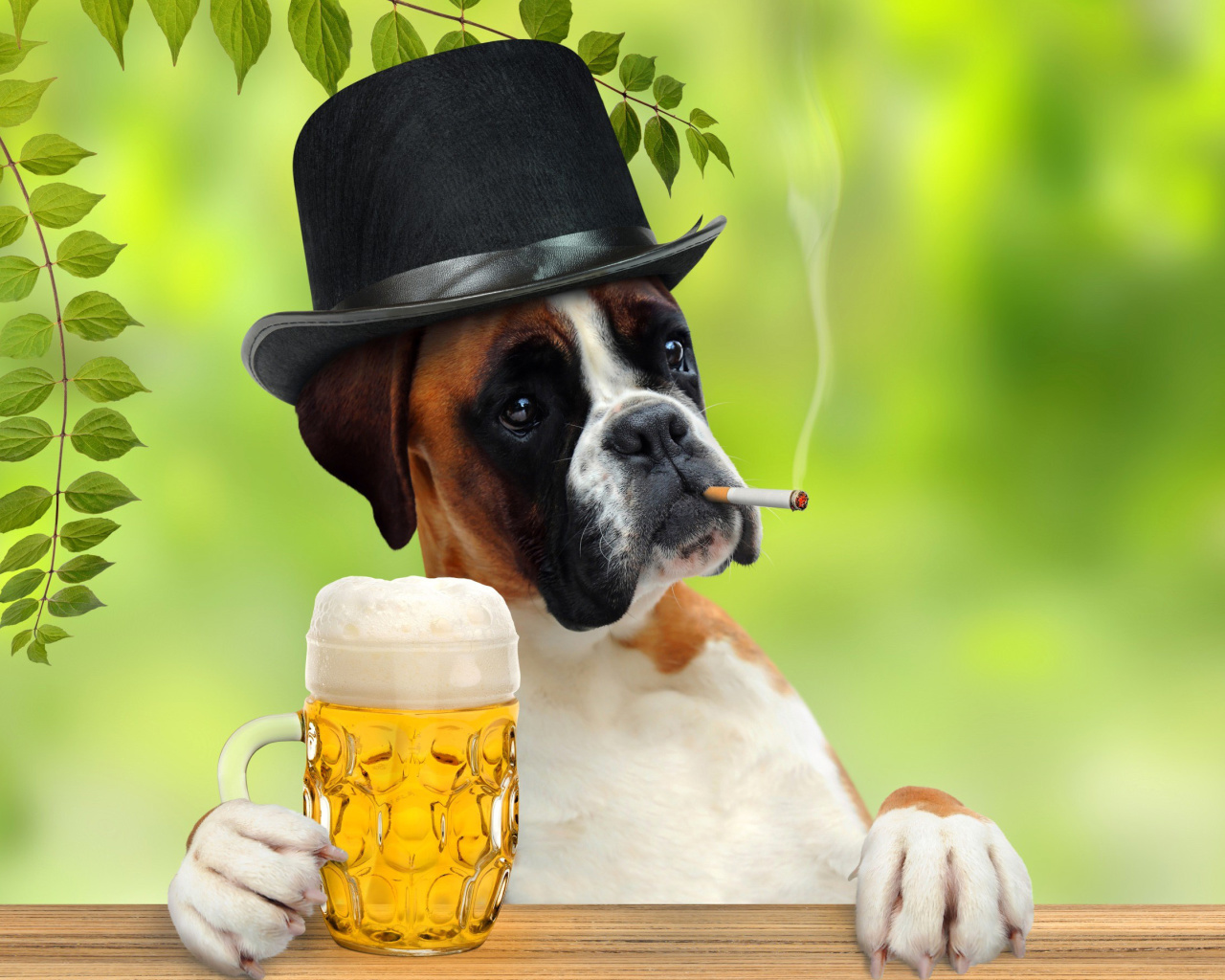 Screenshot №1 pro téma Dog drinking beer 1280x1024