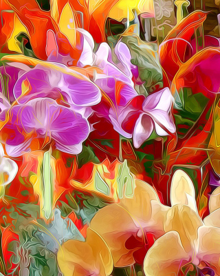 Beautiful flower drawn by oil color on canvas sfondi gratuiti per iPhone 6 Plus