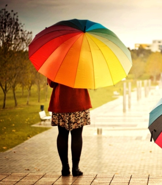 Girl With Rainbow Umbrella Background for HTC Titan