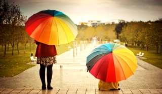 Girl With Rainbow Umbrella Wallpaper for Android, iPhone and iPad
