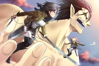 Shingeki no Kyojin, Attack on Titan with Mikasa Ackerman sfondi gratuiti per cellulari Android, iPhone, iPad e desktop