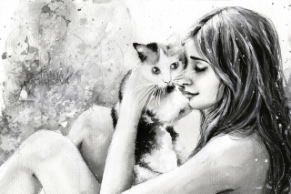 Girl With Cat Black And White Painting Picture for Android, iPhone and iPad