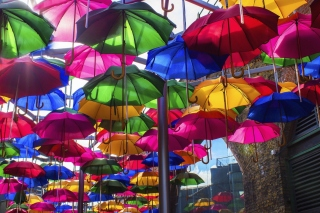 Umbrellas Street Wallpaper for 220x176
