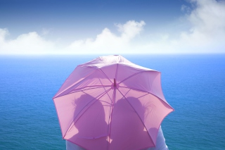 Romance Behind Pink Umbrella Background for Android, iPhone and iPad