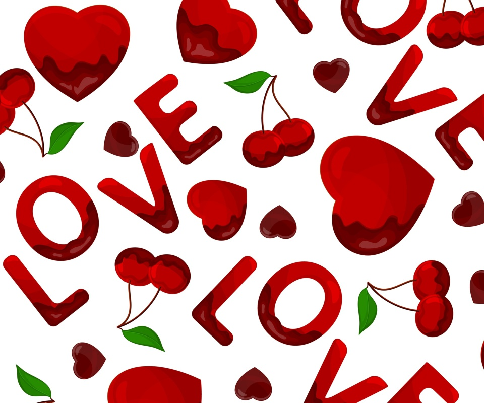 Screenshot №1 pro téma Love Cherries and Hearts 960x800