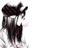 Scatch Of Girl In With Headphones And Gum Wallpaper for Android, iPhone and iPad