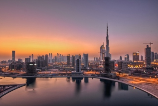 UAE Dubai Skyscrapers Sunset Wallpaper for Android, iPhone and iPad