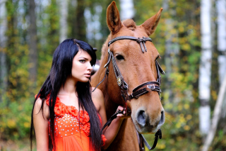 Girl with Horse Background for Android, iPhone and iPad